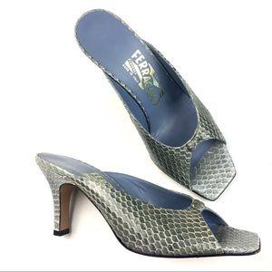Ferragamo Python Open Toe Slides Heels 7